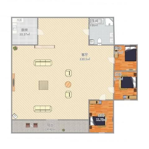 王子公馆3室1厅1卫1厨254.00㎡户型图