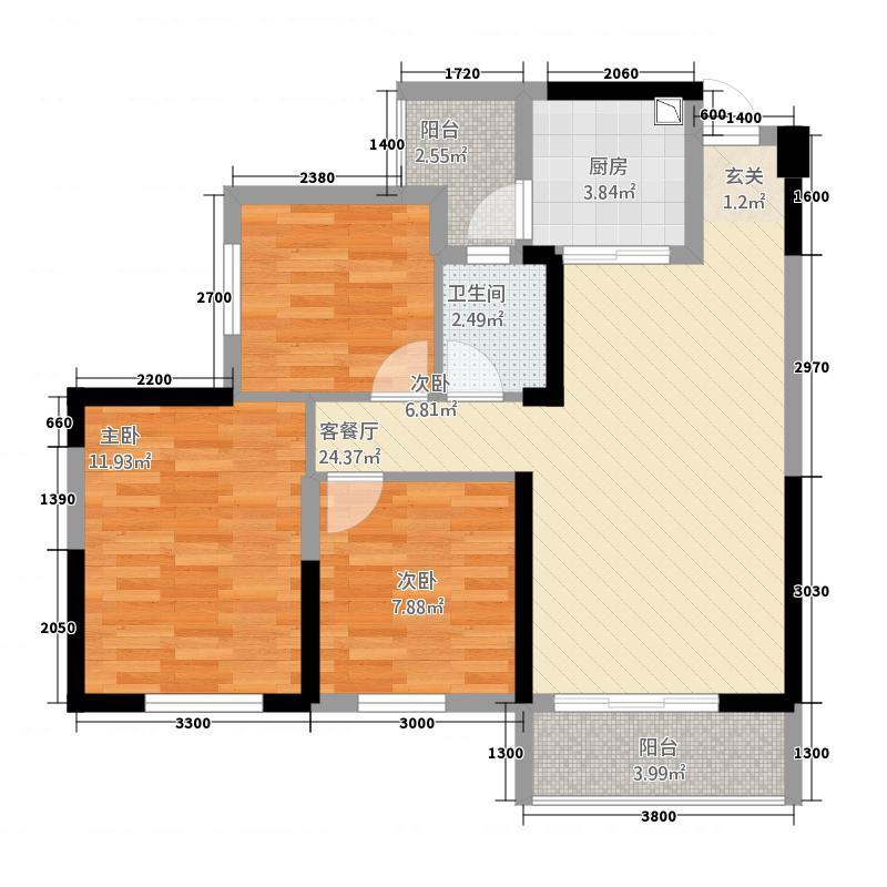 万景大雅城6.24㎡B3户型3室2厅1卫1厨