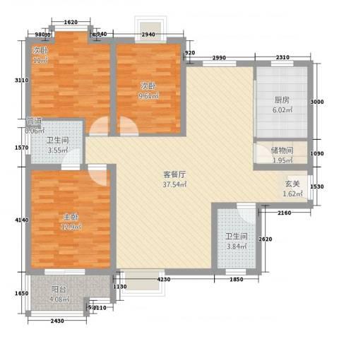 618研究所3室1厅2卫1厨90.54㎡户型图