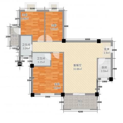 古民居商业文化广场3室1厅2卫1厨113.00㎡户型图
