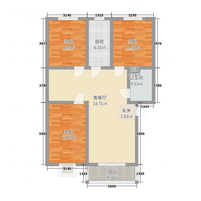 彭银家园121.00㎡户型3室2厅1卫1厨