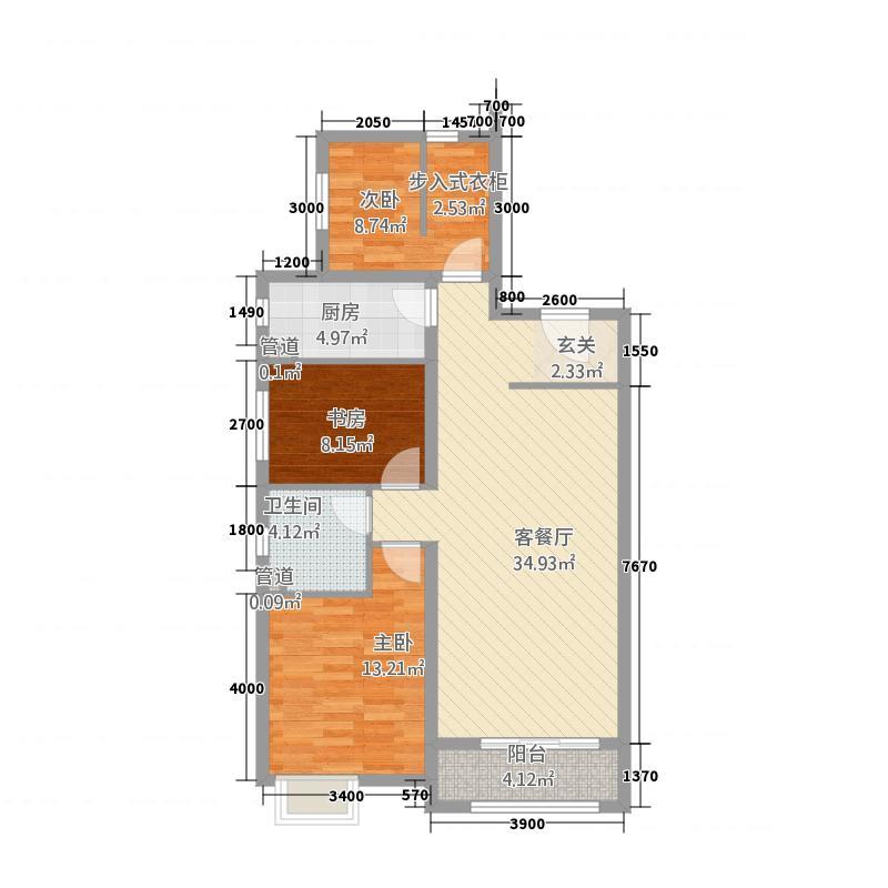 承德・铂悦山11.00㎡C3地块GA1户型3室2厅1卫1厨