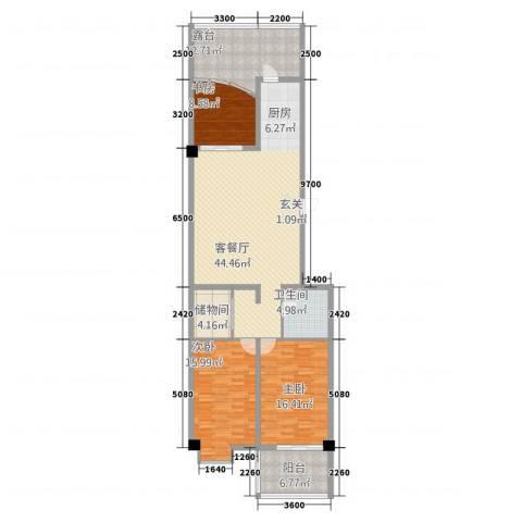东方曼哈顿大厦3室1厅1卫0厨160.00㎡户型图