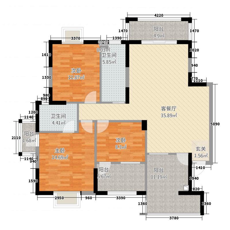 凯旋世纪125.60㎡B3户型3室2厅2卫1厨
