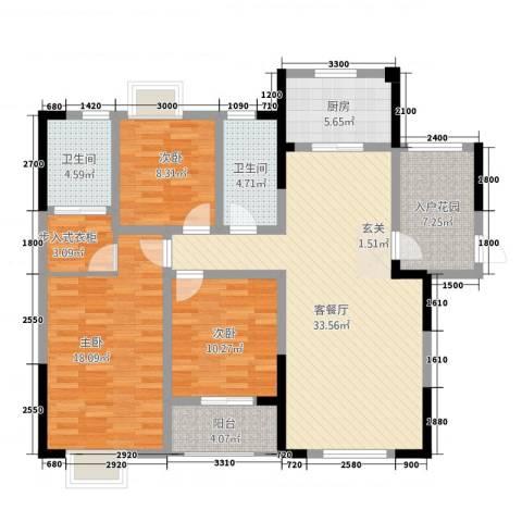 中烟工业大厦3室1厅2卫1厨144.00㎡户型图