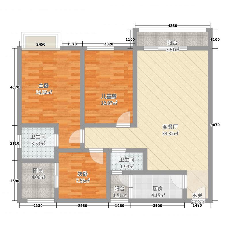 盛世名城1.22㎡/户型3室2厅2卫1厨