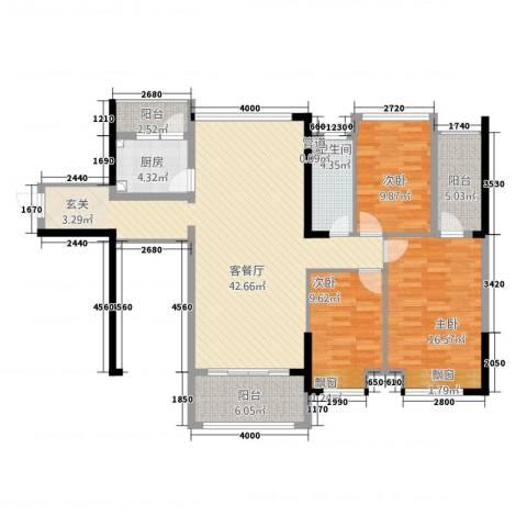 唯美嘉园3室1厅1卫1厨121.00㎡户型图