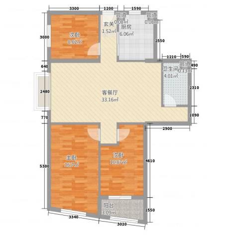 古民居商业文化广场3室1厅1卫1厨116.00㎡户型图
