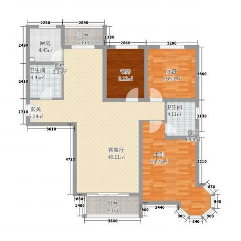 鑫鼎银河湾3室1厅2卫1厨139.00㎡户型图