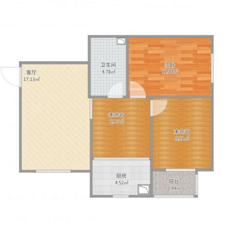 朝阳花园1室1厅1卫1厨80.00㎡户型图