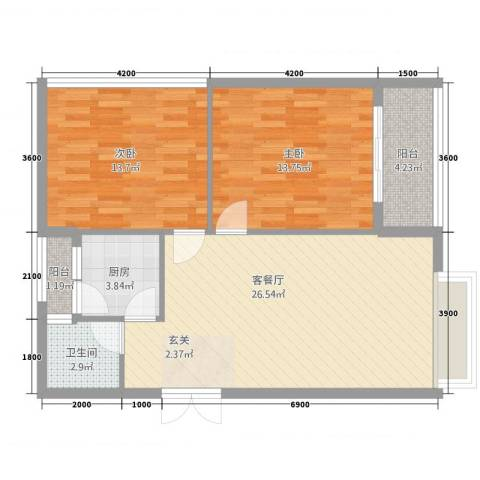 隆盛一品天下2室1厅1卫1厨85.00㎡户型图