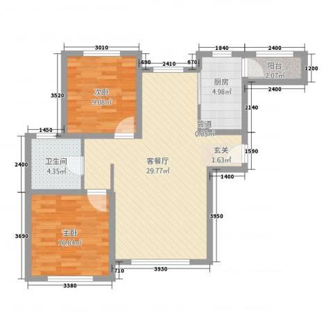 凯旋城2室1厅1卫1厨88.00㎡户型图