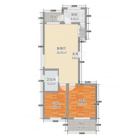 阳光花庭2室1厅1卫1厨94.00㎡户型图