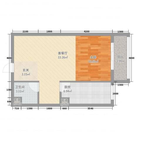 天翔城市公馆1厅1卫1厨67.00㎡户型图