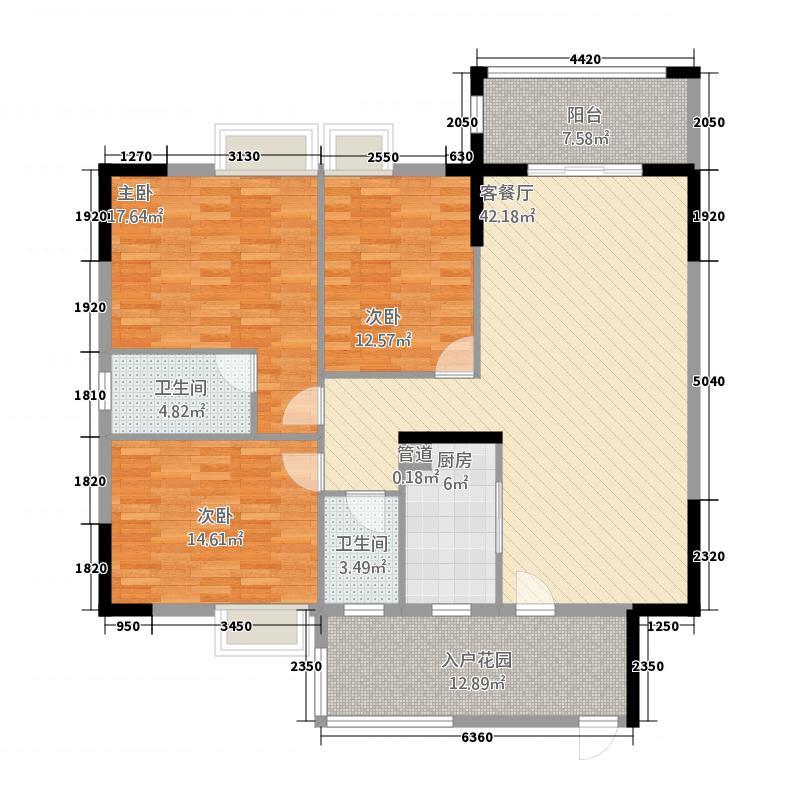 建实碧绿花园二期143.80㎡D1户型3室2厅2卫1厨
