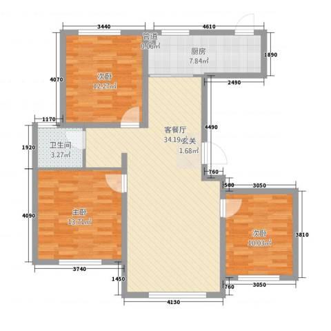 凯旋城3室1厅1卫1厨115.00㎡户型图