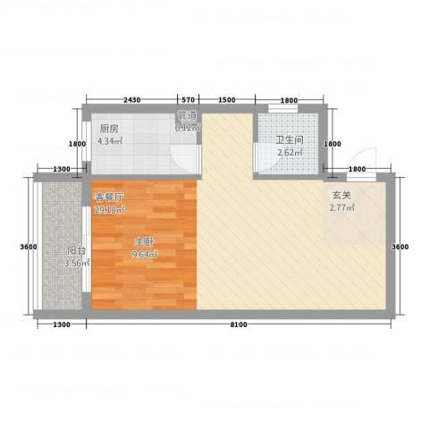 天翔城市公馆1厅1卫1厨56.00㎡户型图