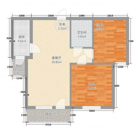 银都海棠花园9号楼2室1厅1卫1厨60.05㎡户型图