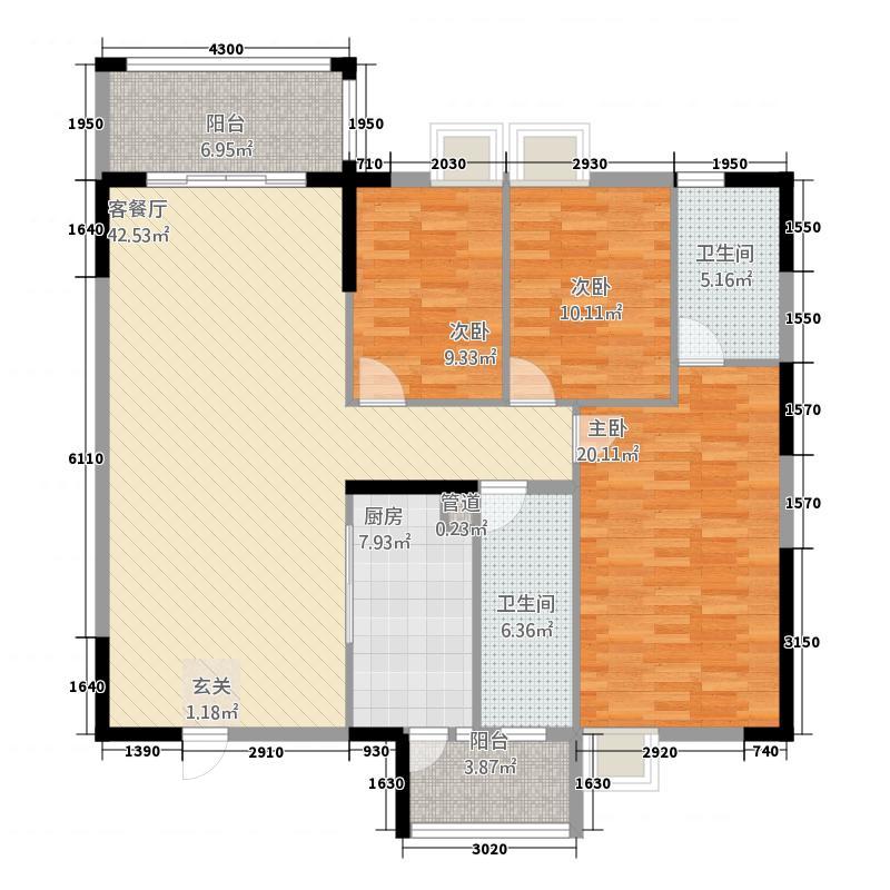 建实碧绿花园二期133.00㎡D2户型3室2厅2卫1厨