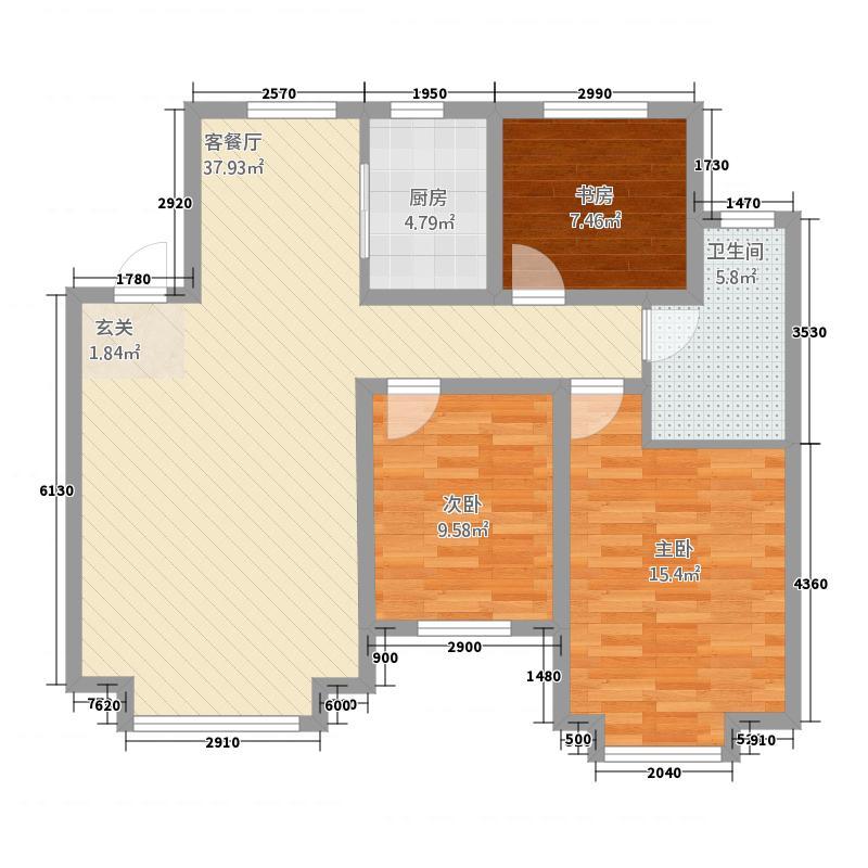 湖滨・四季城三期12.82㎡户型3室2厅1卫