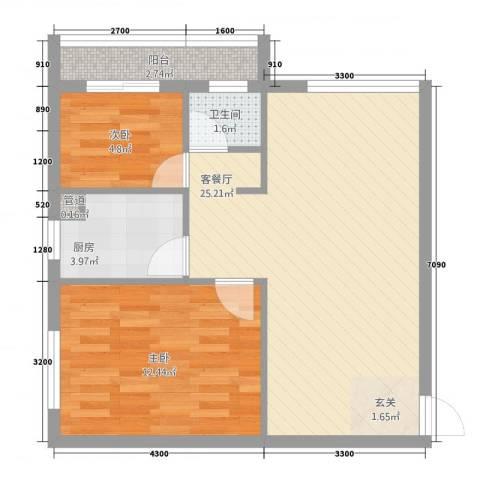 天翔城市公馆2室1厅1卫1厨72.00㎡户型图