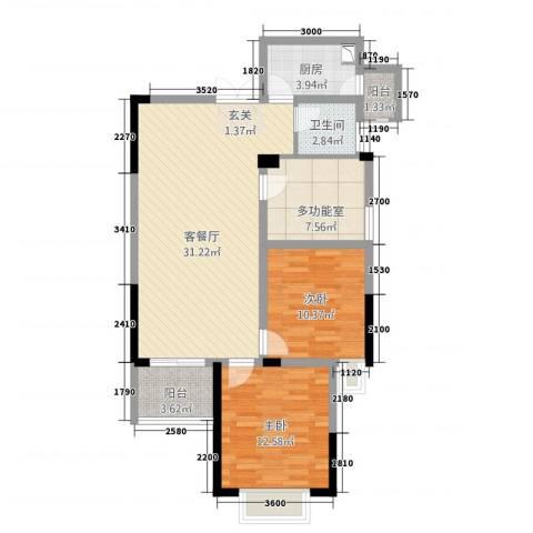 水榭丽都2室1厅1卫1厨106.00㎡户型图