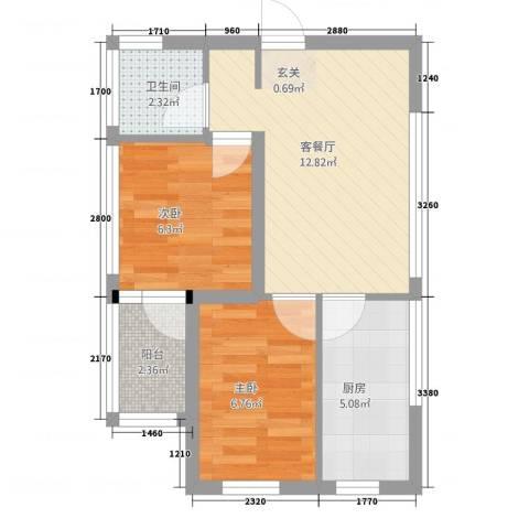 溪城丽景2室1厅1卫1厨35.65㎡户型图