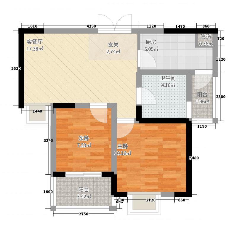 杨君刘小区户型2室2厅1卫1厨