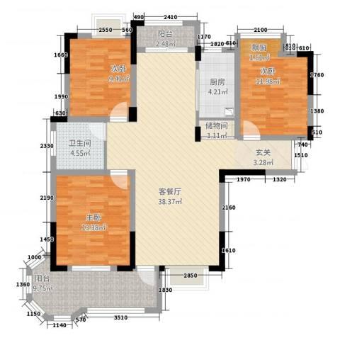 水榭丽都3室1厅1卫1厨118.00㎡户型图