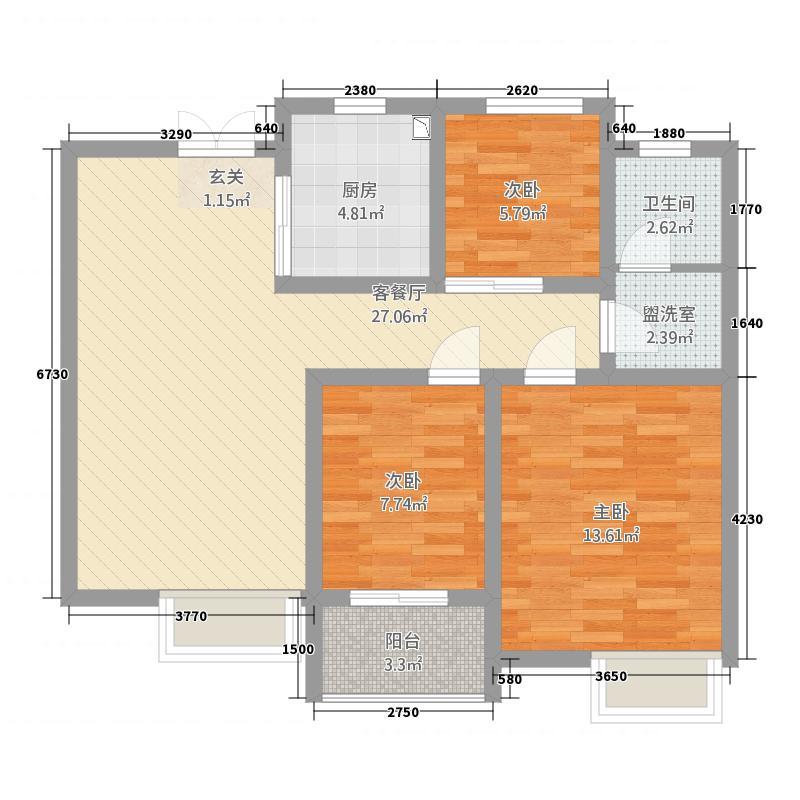 炫特区8.88㎡B户型3室2厅1卫1厨