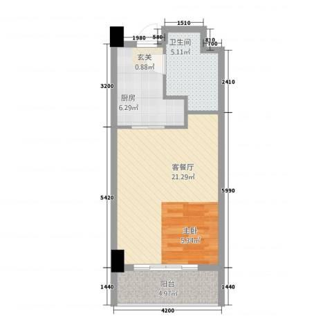 宏运・国际商务港1厅1卫1厨57.00㎡户型图