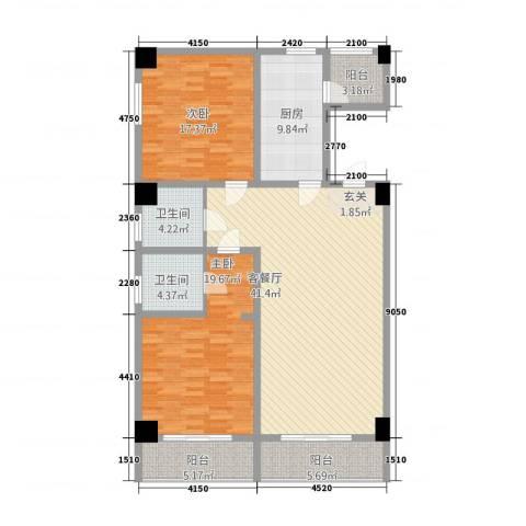 宏运・国际商务港2室1厅2卫1厨173.00㎡户型图