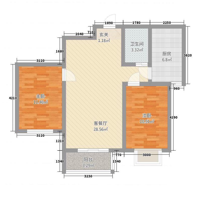 金龙・渤海新城2.80㎡S户型2室2厅1卫