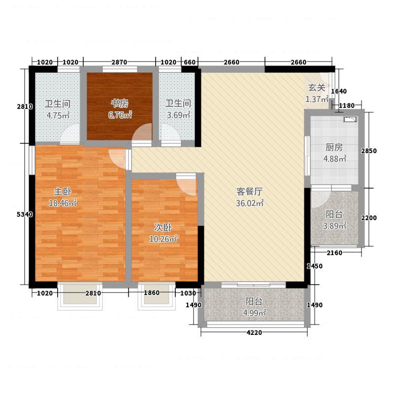 龙泽丰园134.70㎡A户型3室2厅2卫1厨