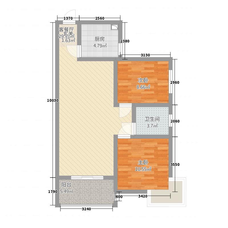 中南国际城1.66㎡A2户型2室2厅1卫1厨