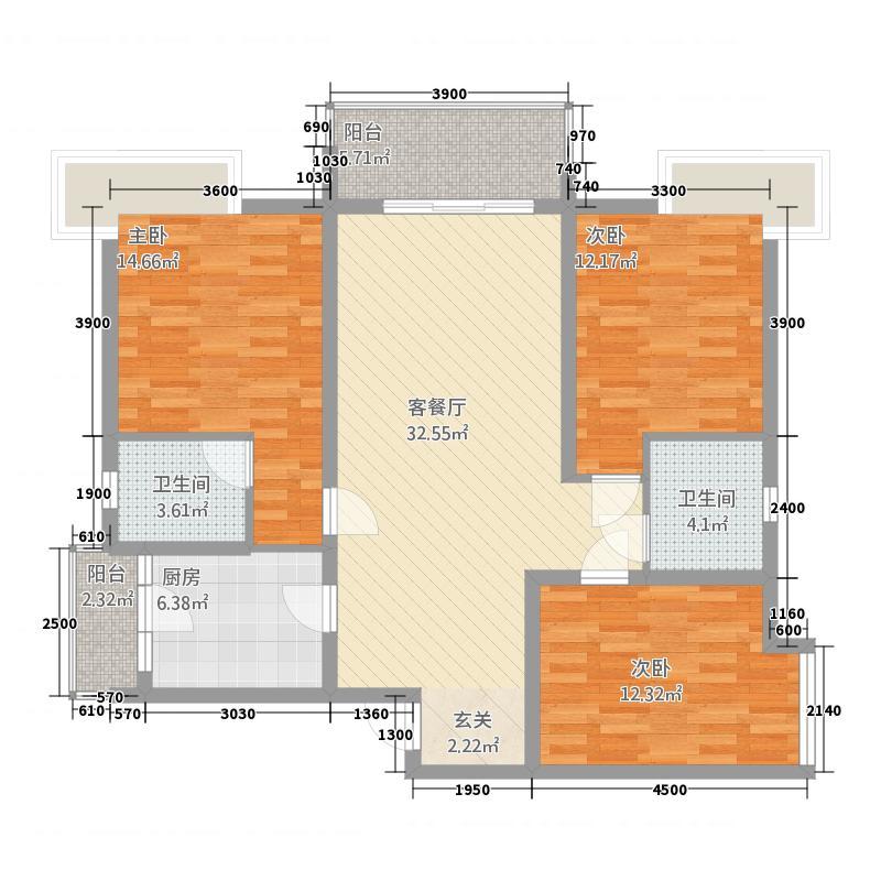 宏凌山水城117.34㎡K2户型3室2厅2卫1厨