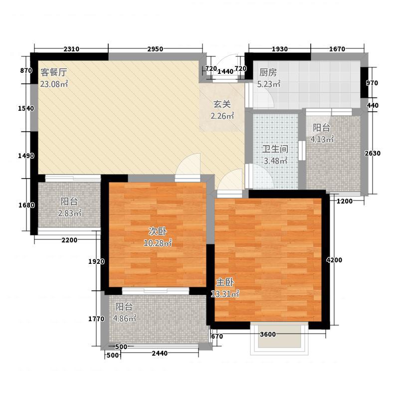 有色迎江花园1.12㎡户型2室2厅1卫1厨