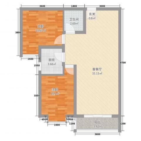 隆城国际三期2室1厅1卫1厨88.00㎡户型图