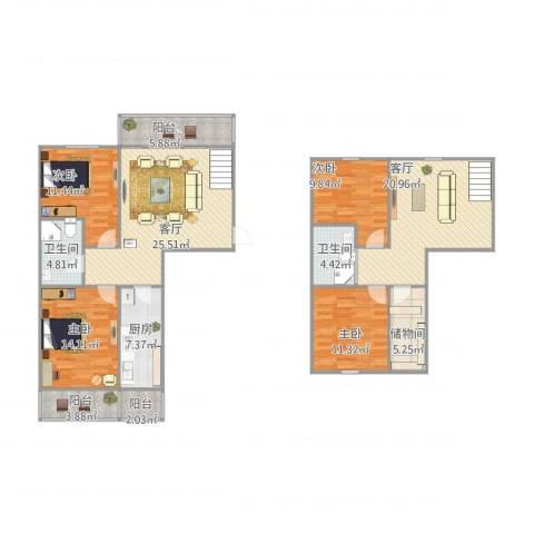 公园北里4室2厅2卫1厨172.00㎡户型图