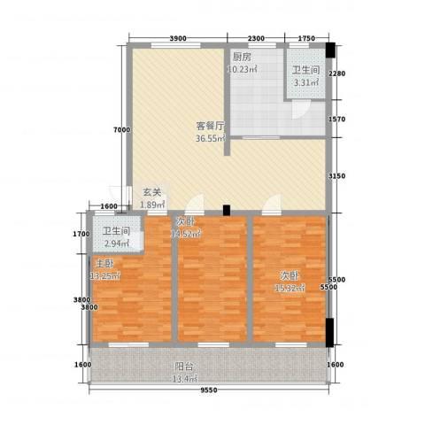 北小郭三期3室1厅2卫1厨109.52㎡户型图