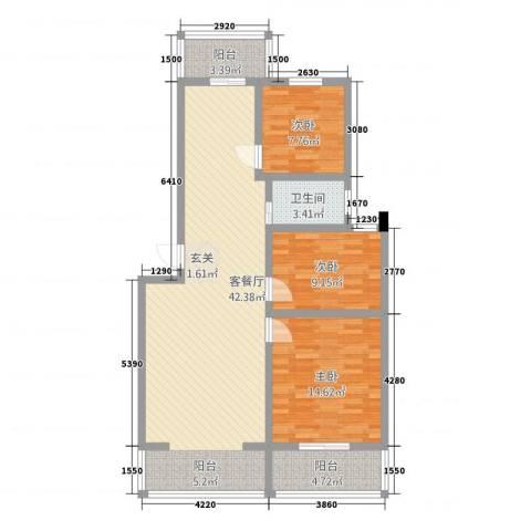 北小郭三期3室1厅1卫0厨122.00㎡户型图