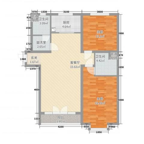 三晋熙园2室2厅2卫1厨119.00㎡户型图