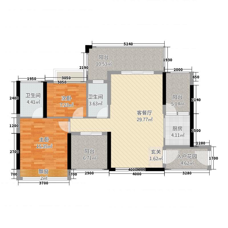 澳华花园项目11.45㎡5/6号楼户型3室2厅2卫1厨
