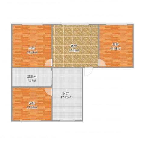 御景名都3室1厅1卫1厨129.00㎡户型图