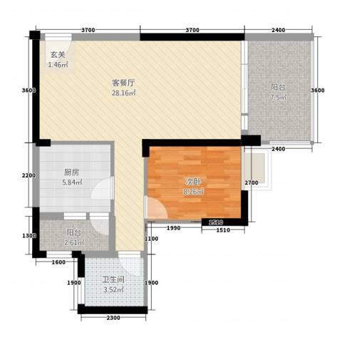 如意园1室1厅1卫1厨80.00㎡户型图