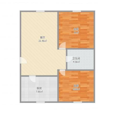 金海花园2室1厅1卫1厨73.00㎡户型图