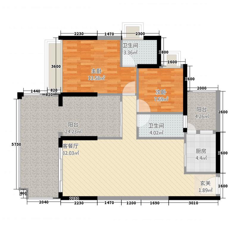 澳华花园项目17.64㎡1/10号楼户型3室2厅2卫1厨