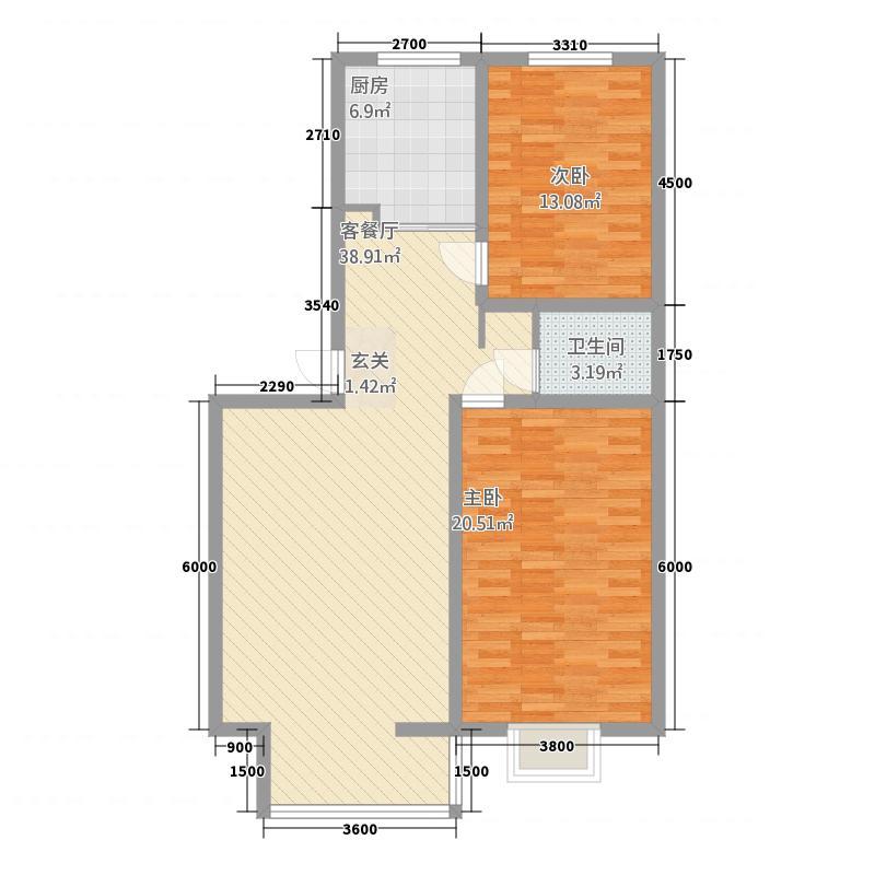 南山昕苑112.12㎡户型2室1厅2卫1厨