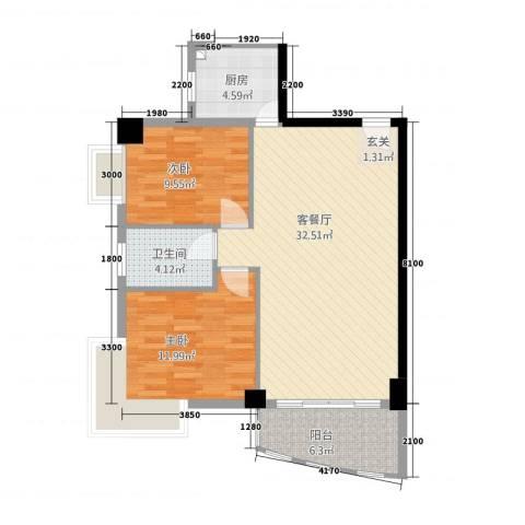 海岸明珠2室1厅1卫1厨97.00㎡户型图