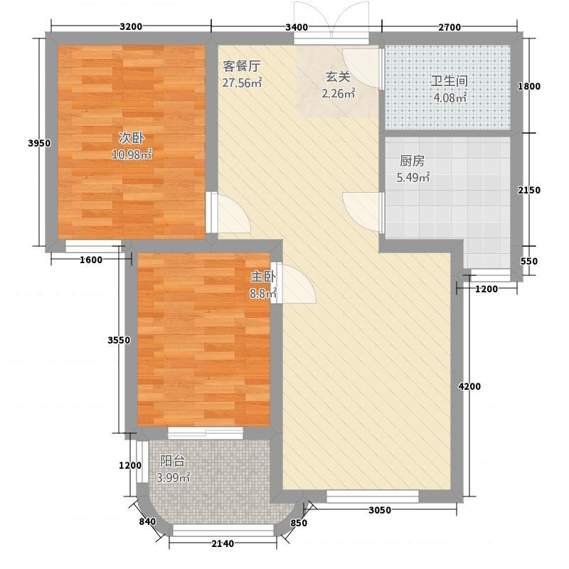 凤泉广场3户型2室2厅1卫1厨